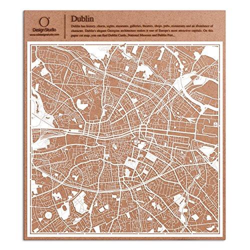 (Dublin Paper Cut Map by O3 Design Studio White 12x12 inches Paper Art)
