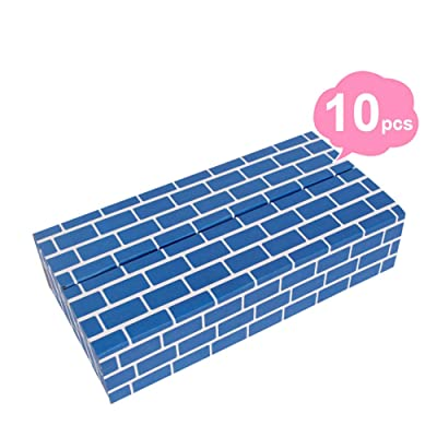 HAPPYMATY Cardboard Building Blocks Extra Thick 10 pcs Building Blocks Jumbo Bricks to Construction Wall and Deluxe Castle for Toddlers Boys Girls, Blue: Toys & Games