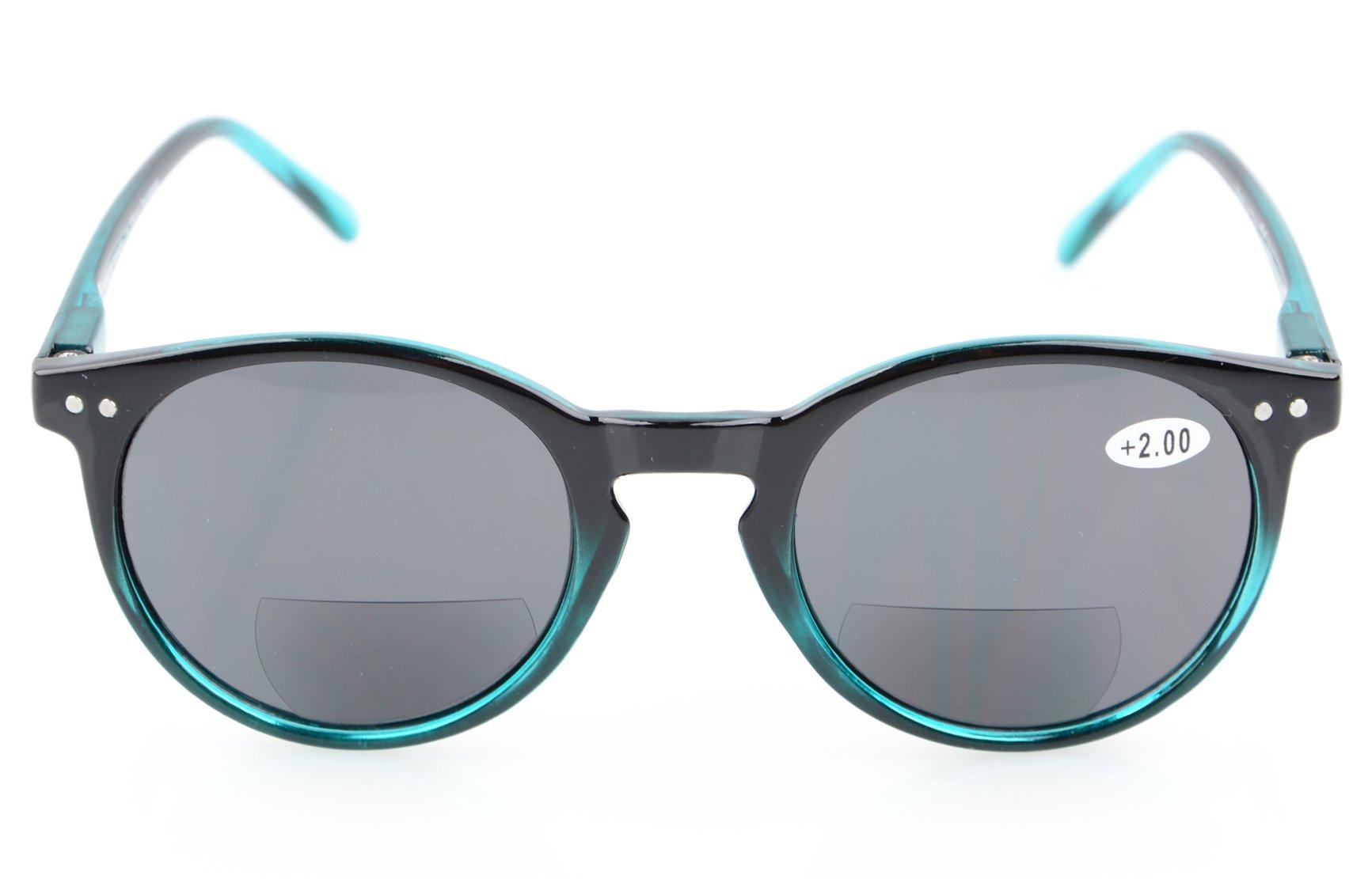 Spring-Hinged Round Bifocal Sunglasses Key Hole Style Bifocal Reading Glasses Women
