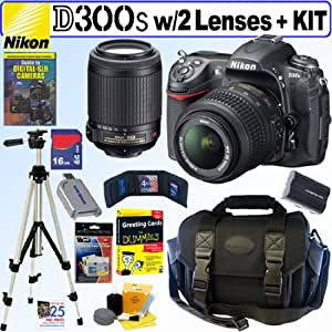 """Nikon D300s 12MP CMOS Digital SLR Camera with 18-55mm f/3.5-5.6G AF-S DX """"VR"""" and 55-200mm f/4-5.6G ED IF AF-S DX """"VR"""" Zoom-Nikkor Lens + 16GB Deluxe Accessory Kit"""