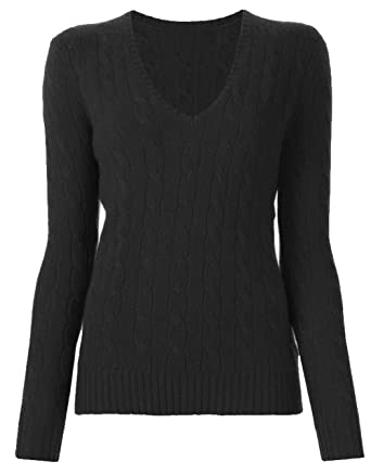 Up Town Uptown Womens Luxury V Neck Cable Knit Sweater Cotton