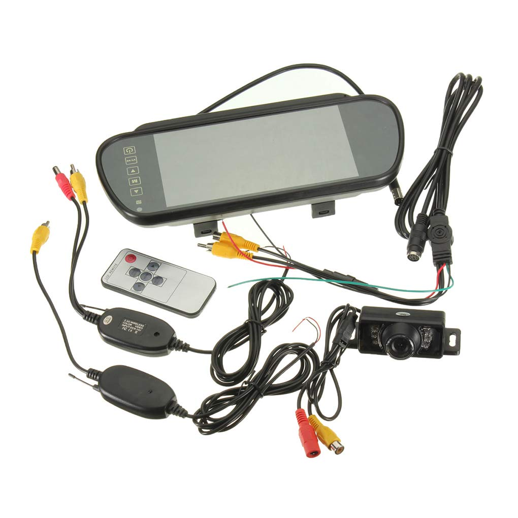 Wireless LED IR Night Vision Car Reversing Backup Camera 7' TFT Car LCD Mirror Surveillance Republe