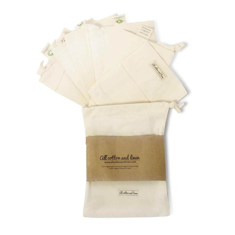 Set Of 7 Organic Cotton Muslin Produce Bags, Reusable Produce