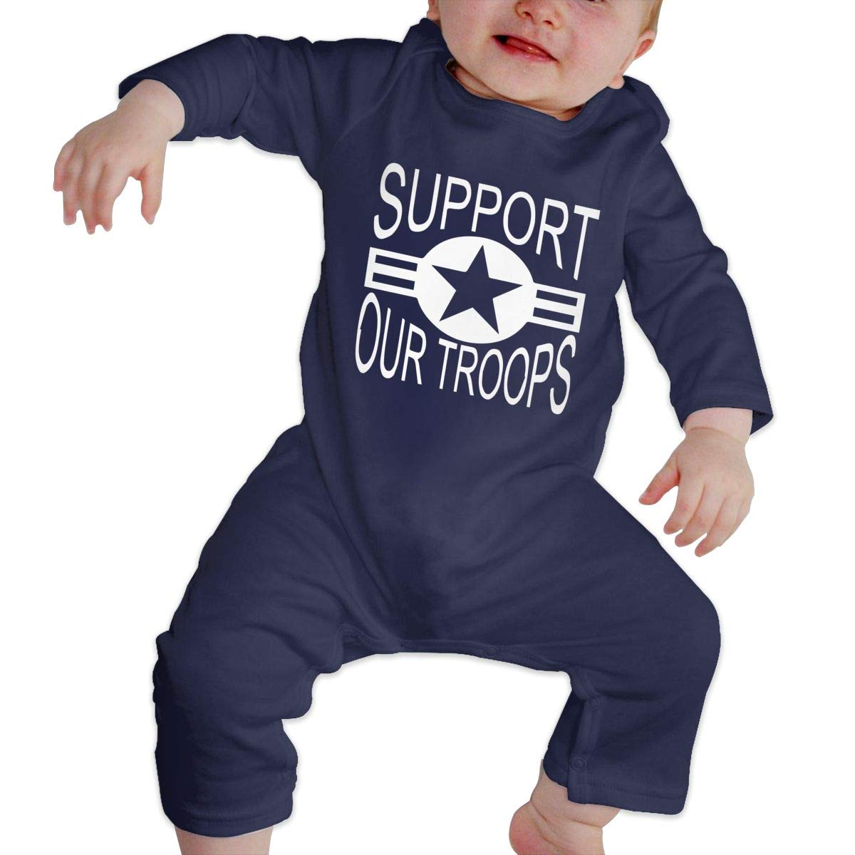 Suit 6-24 Months Newborn Round Collar Support Our Troops 2 Long Sleeve Romper Jumpsuit 100/% Cotton