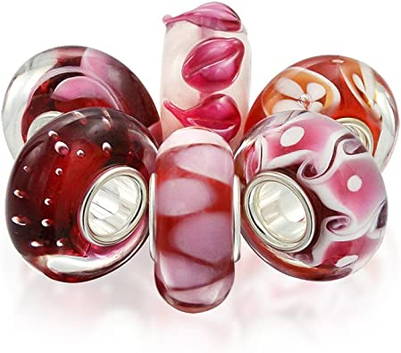 Red Blue Pink Flowers Single Core Glass European Bead for Silver Charm Bracelets
