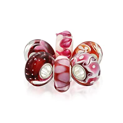 Bling Jewelry Simulated Garnet Set of Six Bundle Pink Red white Murano glass Lampwork .925 Sterling Silver sv5DsTk8