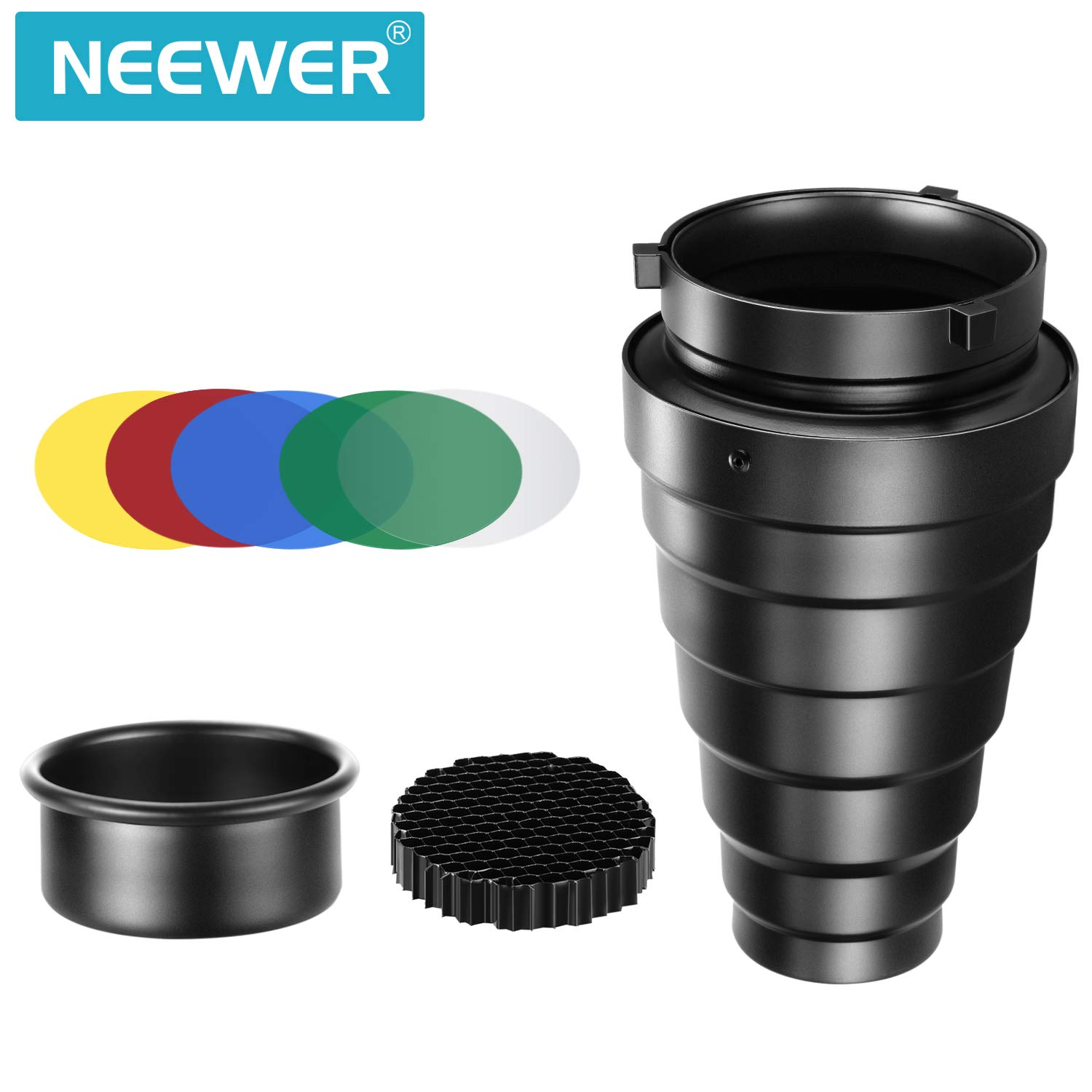 Neewer Medium Aluminium Alloy Conical Snoot Kit with Honeycomb Grid and 5 Pieces Color Gel Filters for Bowens Mount Studio Strobe Monolight Photography Flash Light 10092533