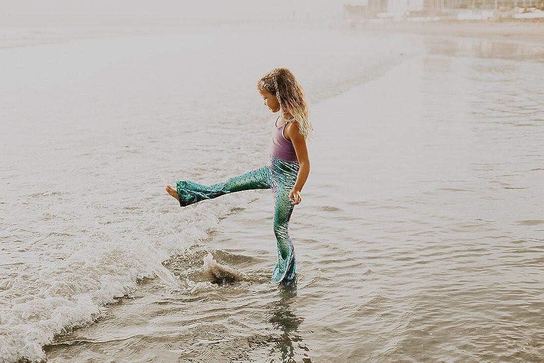 5-6 Years Toddler Baby Girls Sequins Mermaid Fish Scale Bell Bottomed Pants Leggings Green