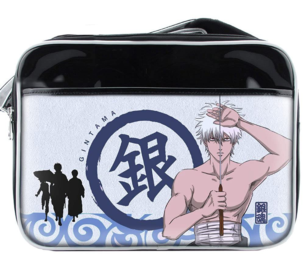 Gumstyle Gintama PVC Messenger Bag Crossbody Sling Shoulder Schoolbag for Boys Girls Anime Fans Cosplay