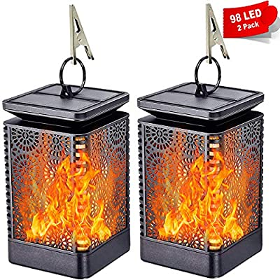 LONG FIT Solar Lanterns Outdoor Hanging Solar Lights Waterproof Solar Lantern Lights with Dancing Flame, 98 Warm LED Lights Auto On/Off, Solar Flame Lanscape Lights Decorative for Garden Patio