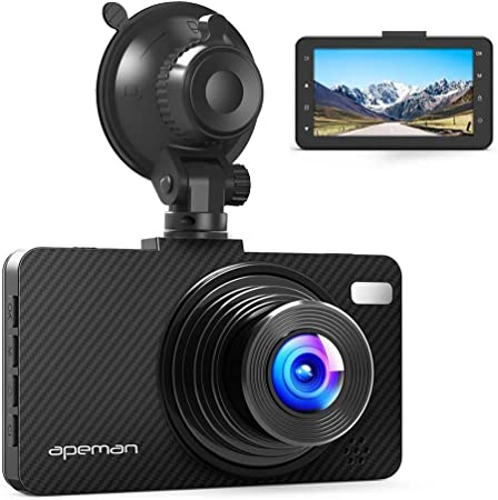APEMAN Dash Cam Dashboard FHD 1080P Car Camera DVR Recorder with 3.0 LED Screen, Super Night Vision, G-Sensor, WDR, Loop Recording, Motion Detection