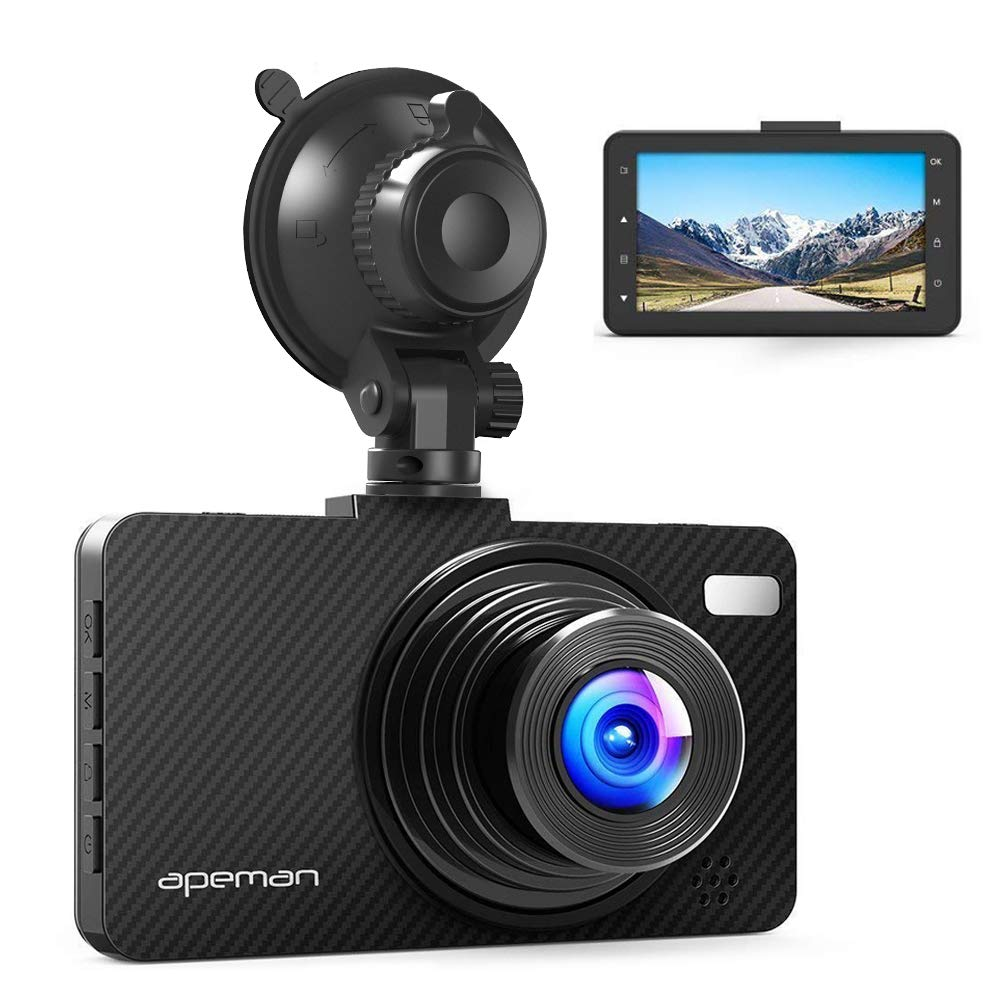 APEMAN Dash Cam FHD 1080P Car Camera with 3″ LCD Screen, 170° Wide Angel, G-Sensor, WDR, Loop Recording, Motion Detection, Night Vision