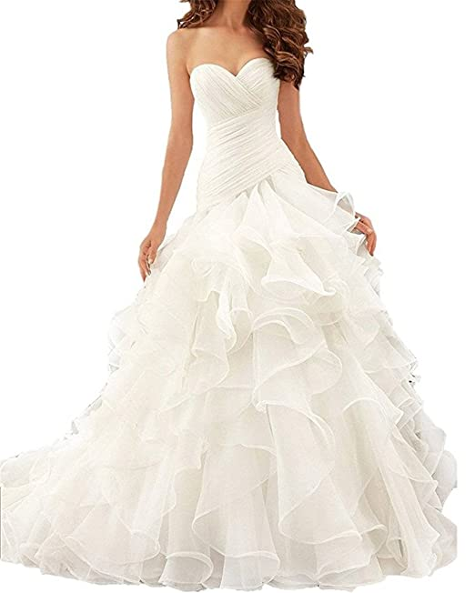 Veiai Strapless Floor Princess Bride Wedding Dresses 2017 With Cathedral Train at Amazon Womens Clothing store:
