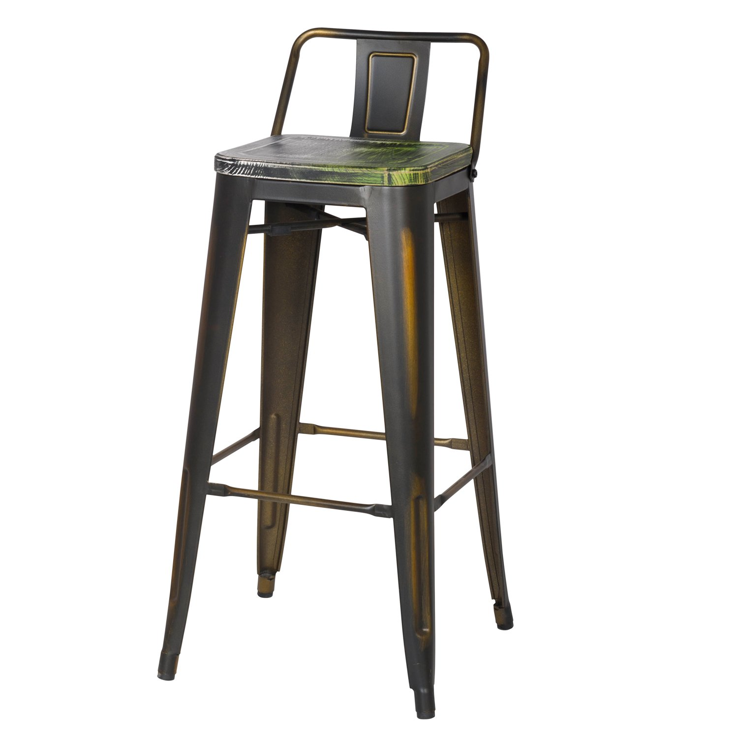 Adeco 30 Inch Industrial Chic Metal Barstool With Half
