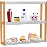 Bathroom Shelf 3-Tier Wall Mount Shelf Free Standing Adjustable Storage Over Toilet Rack Plant Stand Towel Holder Living Room Kitchen Bamboo Frame White Layer by Domax