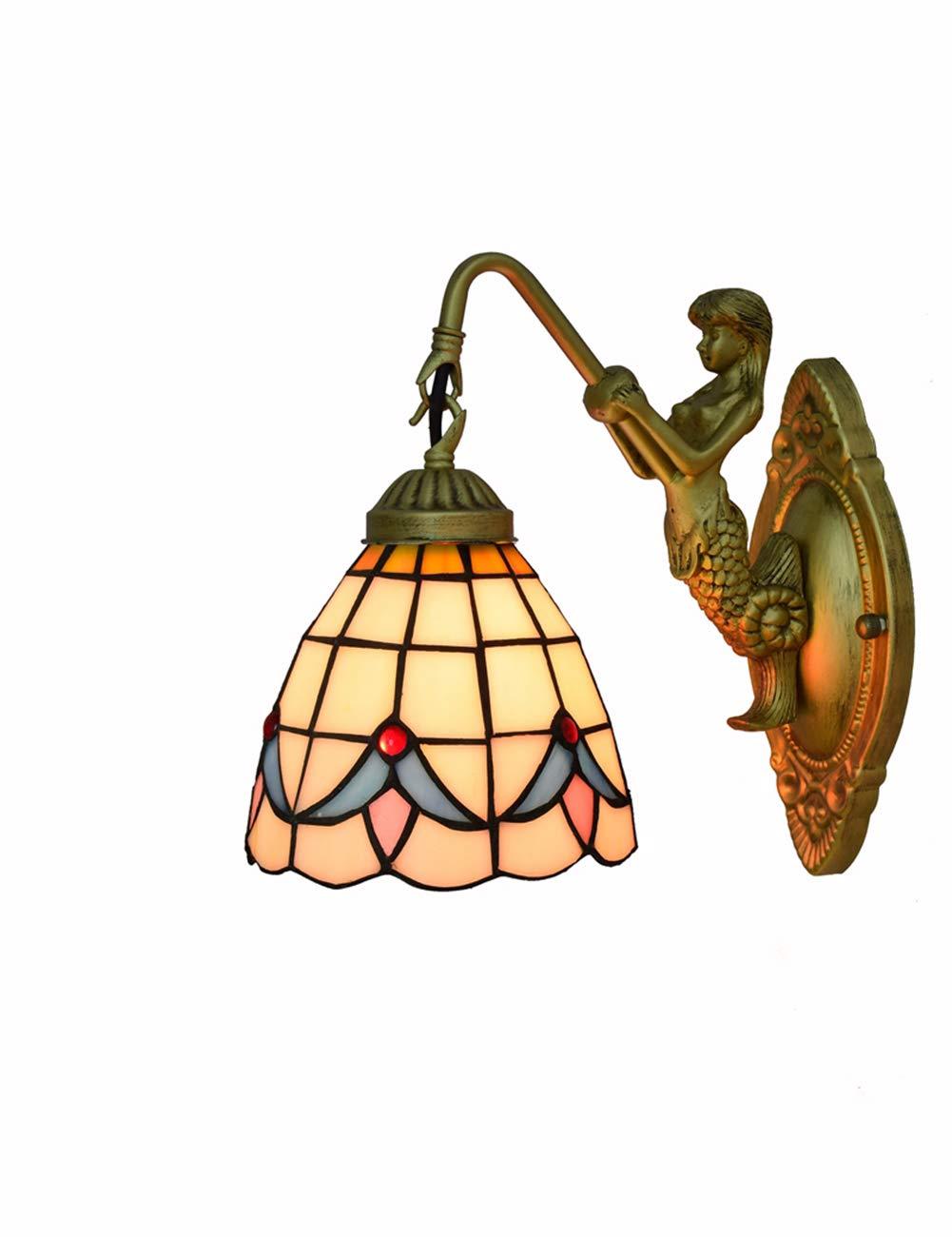 KCoob Wandlampe Leselampe hängende Weiß Grid Lamp Cover Vintage Meerjungfrau Metall Basis für Schlafzimmer