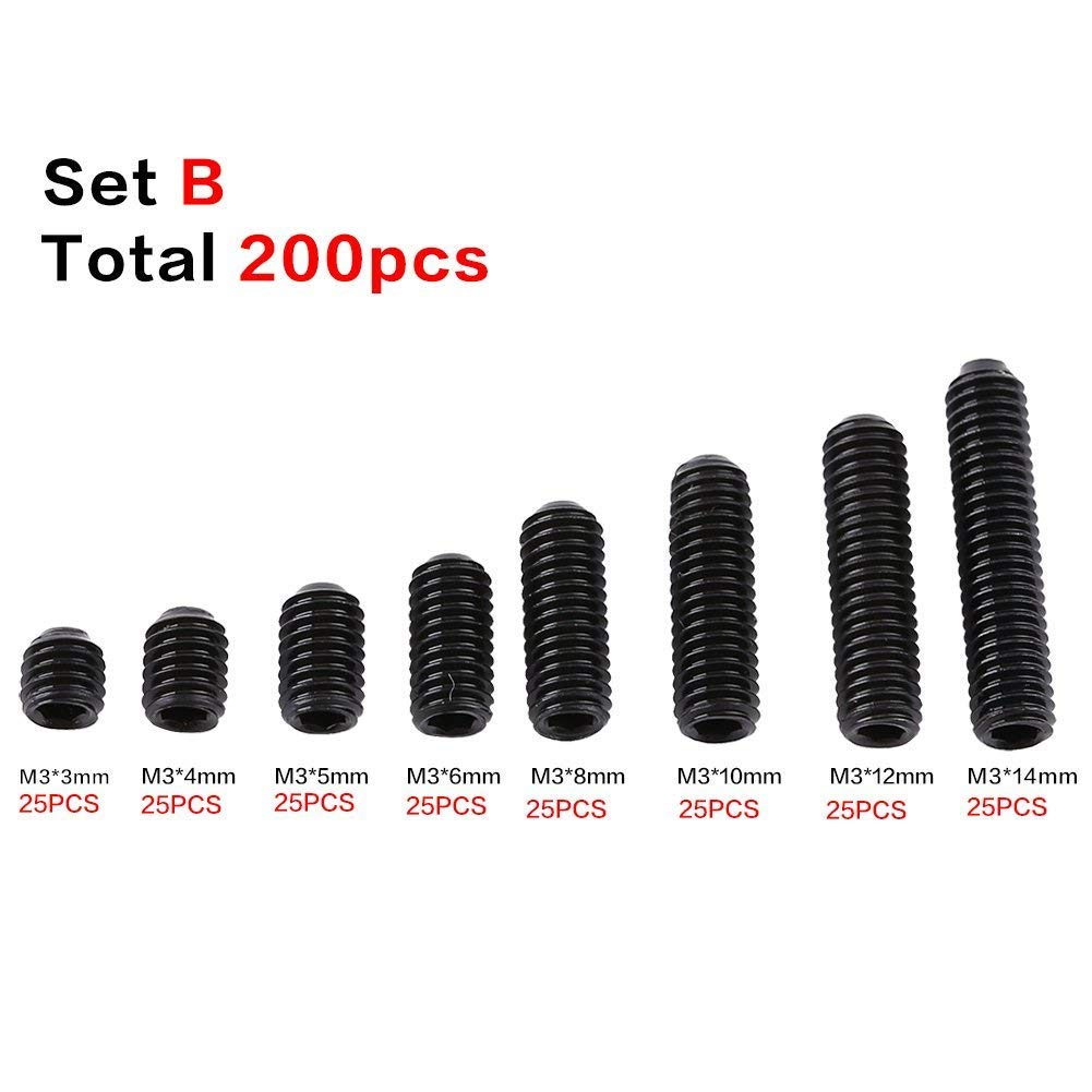 Pack of 200 Pcs M3 Carbon Steel Hex Grub Screws Set Cup Point Grub Screw  Set Machine Fastener Assortment Kit e3f2e3bdc7f7