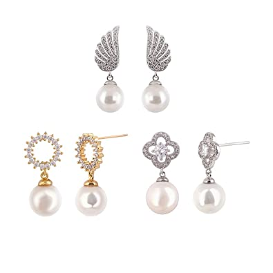 da85f5778 3 Pairs 14K Rose White Gold Plated Sterling Silver Shell Pearl Dangle Drop  Earring - Cluster Round CZ Simulated Diamond 4 Leaved Clover Angel Wing  Stud ...