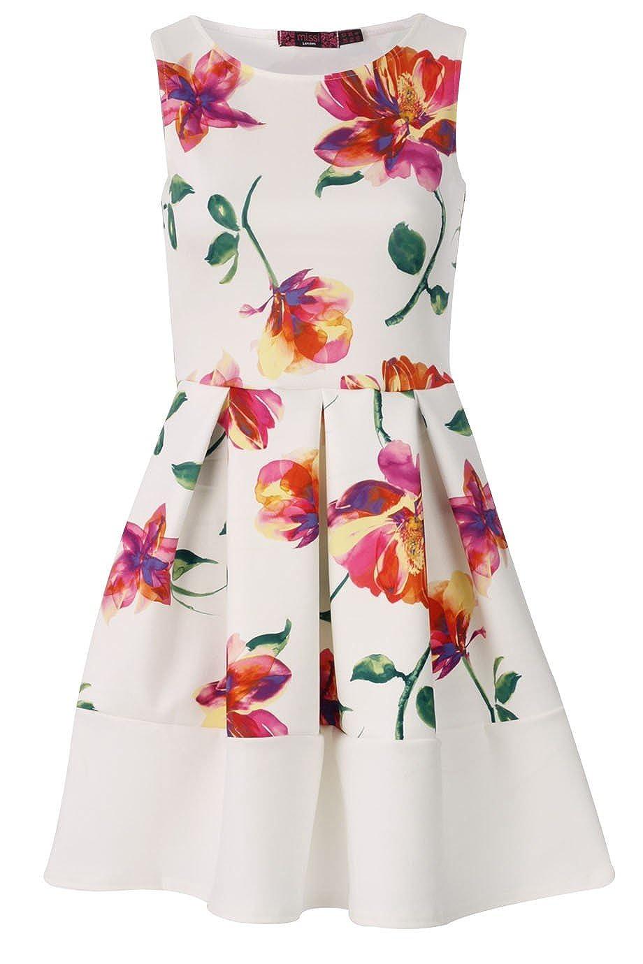 Ladies Girls Floral Panel Bow Black White Stripe Skater Dress Usa