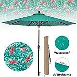 LCH 9ft Outdoor Umbrella Patio Backyard Deck Table Umbrella with Sturdy Pole, 8 Ribs, Crank Open, Push Button Tilting, Dark Red, Novelty Design (Green-Flamingo Flower)