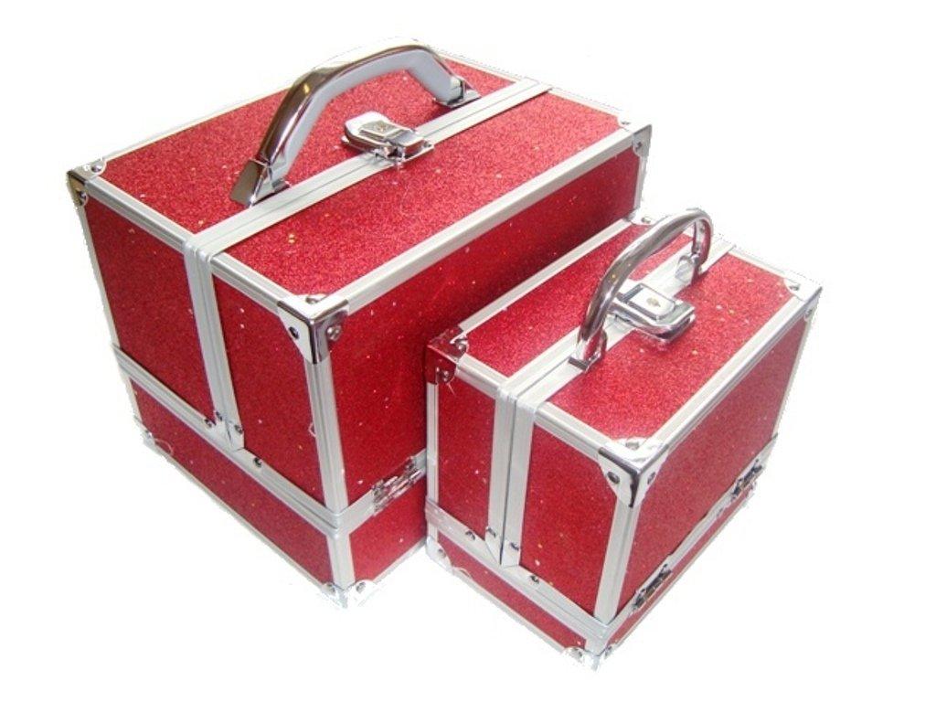 2 Piece Sparkly Glitter Aluminium Beauty Make up Vanity Case Box Nail hair Box (BLACK) osmosis cases