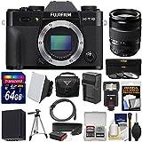 Fujifilm X-T10 Digital Camera Body (Black) & 18-135mm Lens with 64GB Card + Case + Flash + Soft Box + Battery & Charger + Kit