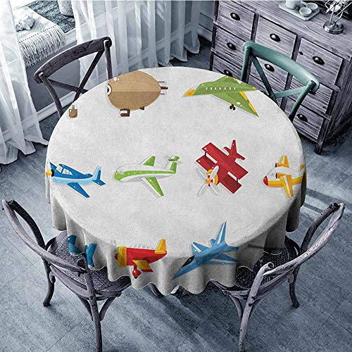 (ScottDecor Garden Round Tablecloth Jacquard Tablecloth Boys,Aircrafts with Cartoon Style Jet Airliner Zeppelin Regular Plane and Hot Air Balloon, Multicolor Diameter 70