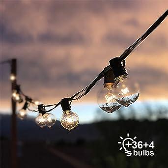 Cadena de Luces, Qomolo G40 Exterior Guirnalda Luces Con 36 Bombillas Y 4 Bombillas de Repuesto, 41ft Cable, Decoración Luz Interior y Exterior para Patio, Jardín, Fiesta, Bodas, Navidad: Amazon.es: Iluminación