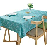 """Lamberia Rectangle Polyester Fabric Tablecloth Heavyweight Spill-Proof and Stain Resistant, 60""""x84"""" Oblong, Seats 6-8 People,"""
