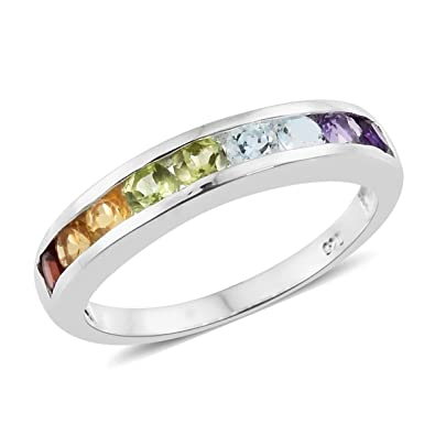 TJC Women 925 Sterling Silver Garnet, Chinese Peridot, Sky Blue Topaz, Citrine and Amethyst Half Eternity Ring Size O