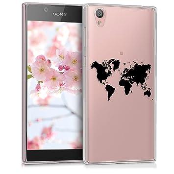 kwmobile Funda para Sony Xperia L1 - Carcasa de TPU para móvil y diseño de Mapa del Mundo en Negro/Transparente
