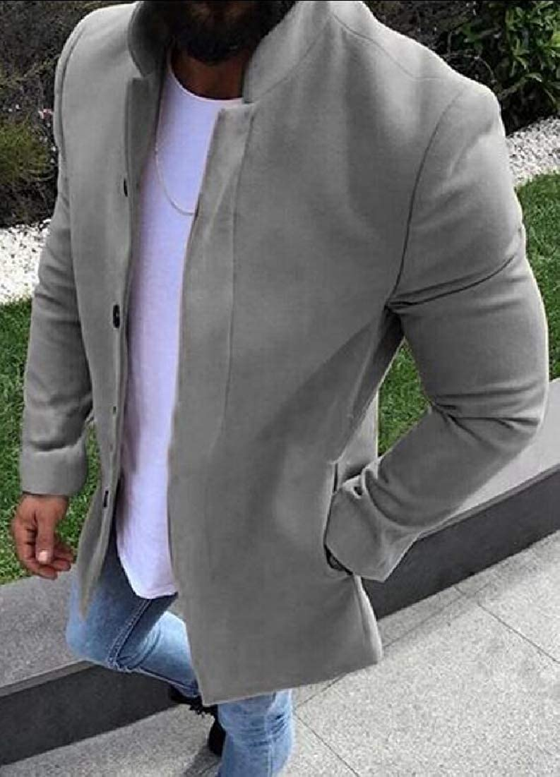 ONTBYB Mens Slim Single Breasted Casual Solid Windbreaker Trench Coat