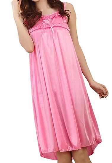 bc90769c69 CRYYU-Women Nightgown Satin Silk Soft Sleeveless Sleepwear Gown Five One  Size