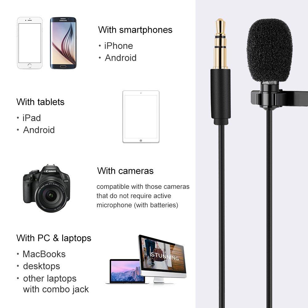 Samsung Android Lavalier Lapel Condensateur Microphone Enregistreur pour iPhone T/él/éphone-2m K/&F Concept Micro Cravate Professionel Omnidirectional Clip-on Kit GoPro,Video Camera,PC,Macbook