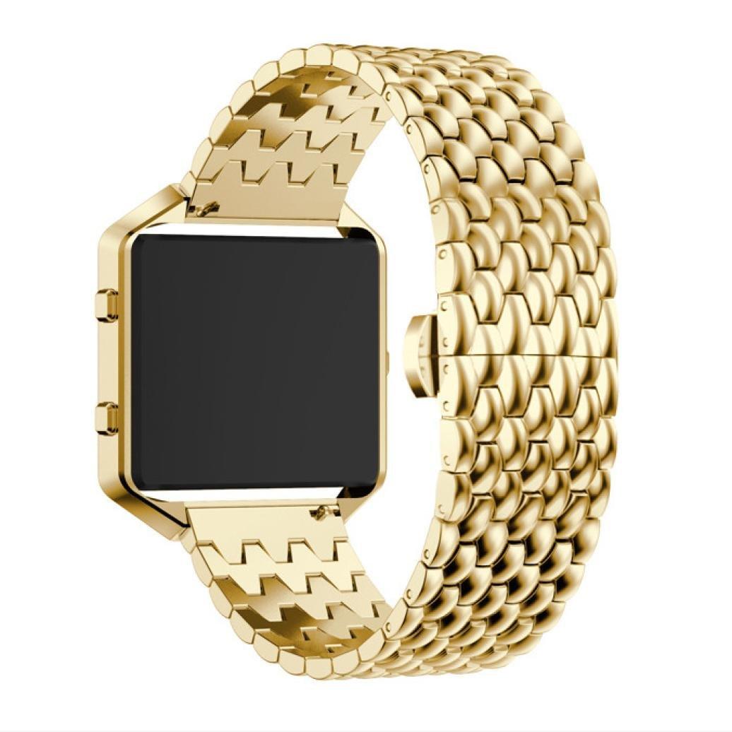 dreamyth Luxuryステンレススチールブレスレットスマートウォッチバンドストラップ+ケースカバーfor Fitbit Blaze耐久性 B075LGGBBR ゴールド
