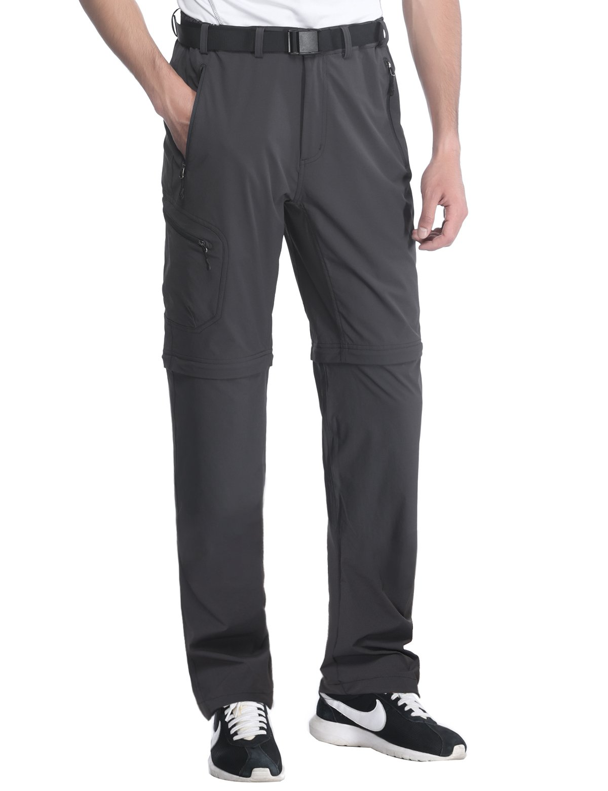 MIERSPORTS Men's Outdoor Cargo Pants Quick Dry Convertible Pants for Travel Hiking Climbing, Water Resistant, 5 Pockets, Graphite Gray, L