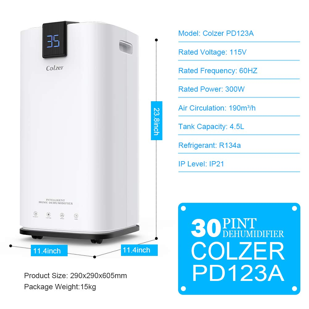Colzer 30 Pints Portable Dehumidifier, Large Capacity, Compact Dehumidifier for Home, Bathroom, Kitchen, Bedroom, for Spaces Up to 1500 Sq Ft, Continuous Drain Hose Outlet (30 Pint) by Colzer (Image #1)