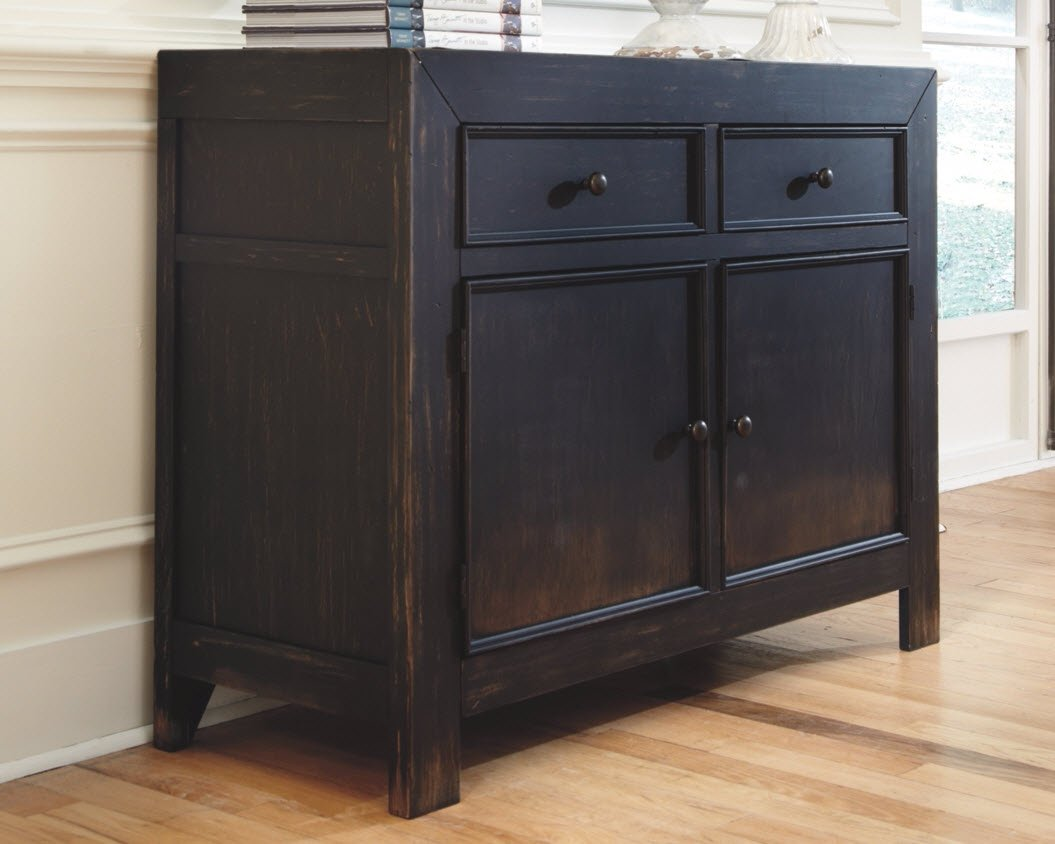 Ashley Furniture Signature Design - Gavelston Accent Cabinet - 2 Cabinets and 2 Drawers - Vintage Casual - Black by Signature Design by Ashley (Image #2)