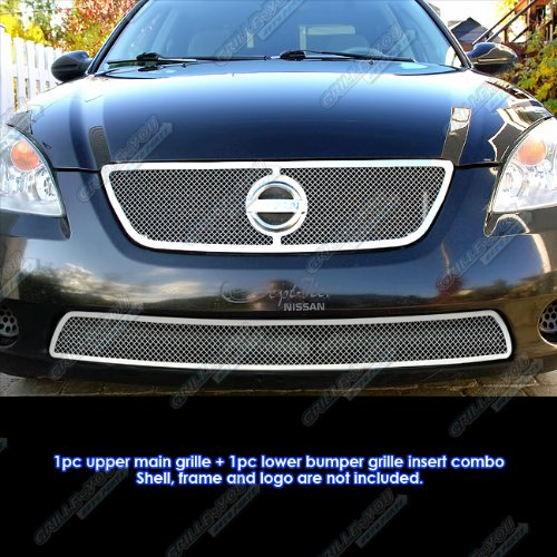 2002-2004 Nissan Altima Stainless Steel Mesh Grille Grill Combo ()