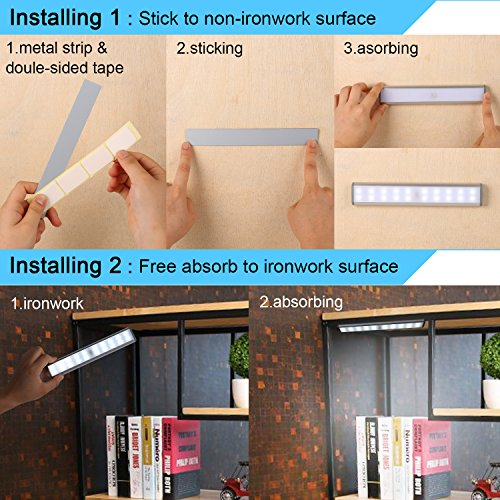 Stick-On Anywhere Portable Closet Lights Wireless 20 Led Under Cabinet Lighting Motion Sensor Activated Build In Rechargeable Battery Magnetic Little Safe Night Tap Light for Closet Cabinet (Silver) by RXWLKJ (Image #5)