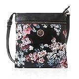 Joyzeal Crossbody Bag Multi Zipper Pocket Bag Flower Design Handbag Purse for Women Shoulder Bag (Black)