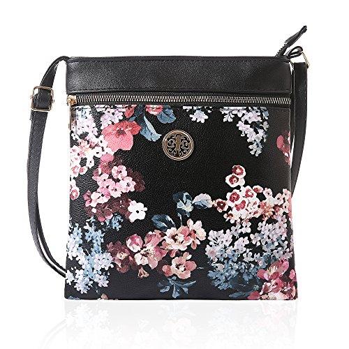 Joyzeal Crossbody Bag Multi Zipper Pocket Bag Flower Design Handbag Purse for Women Shoulder Bag (Black) (Shoulder With Zippers Bags)
