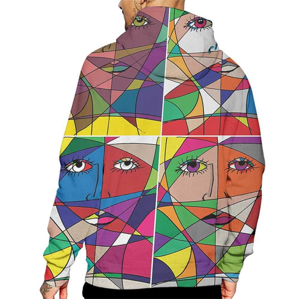 Hoodies Sweatshirt/Men 3D Print Abstract,Abstract Woman Face Illustration Behind Stained Glass Styled Human Facial Feature,Multicolor Sweatshirts for Teen Girls