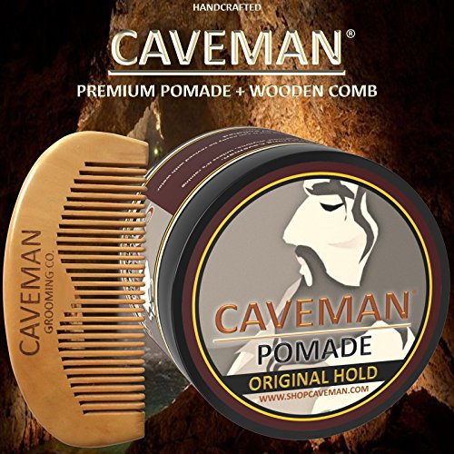 Handcrafted-Caveman-Pomade-Hair-Original-Hold-Rockabilly-4oz-FREE-Comb