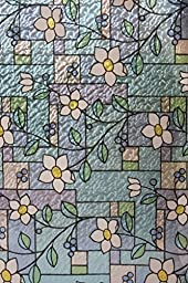 CHOIS Static Cling Decorative Privacy Vinyl Floral Stain Glass Window Film Multi-Color 35\