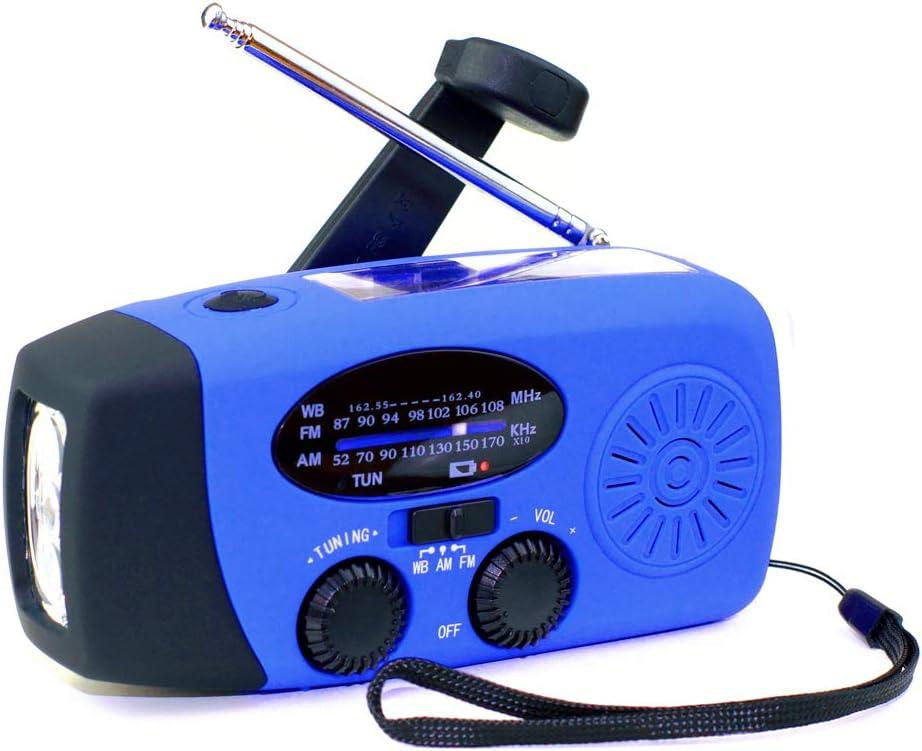[Upgrade] Tiemahun Emergency Solar Hand Crank Dynamo NOAA WB AM/FM Radio Hurricane Camping Survive Kit with 3-LED Flashlight 1000mAh Power Bank 088FS (Blue)