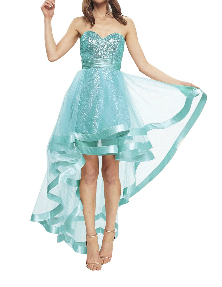 44f8aad5027 Sequined High Low Homecoming Dress Strapless Sweetheart A-Line Prom Evening  Gown Light Blue