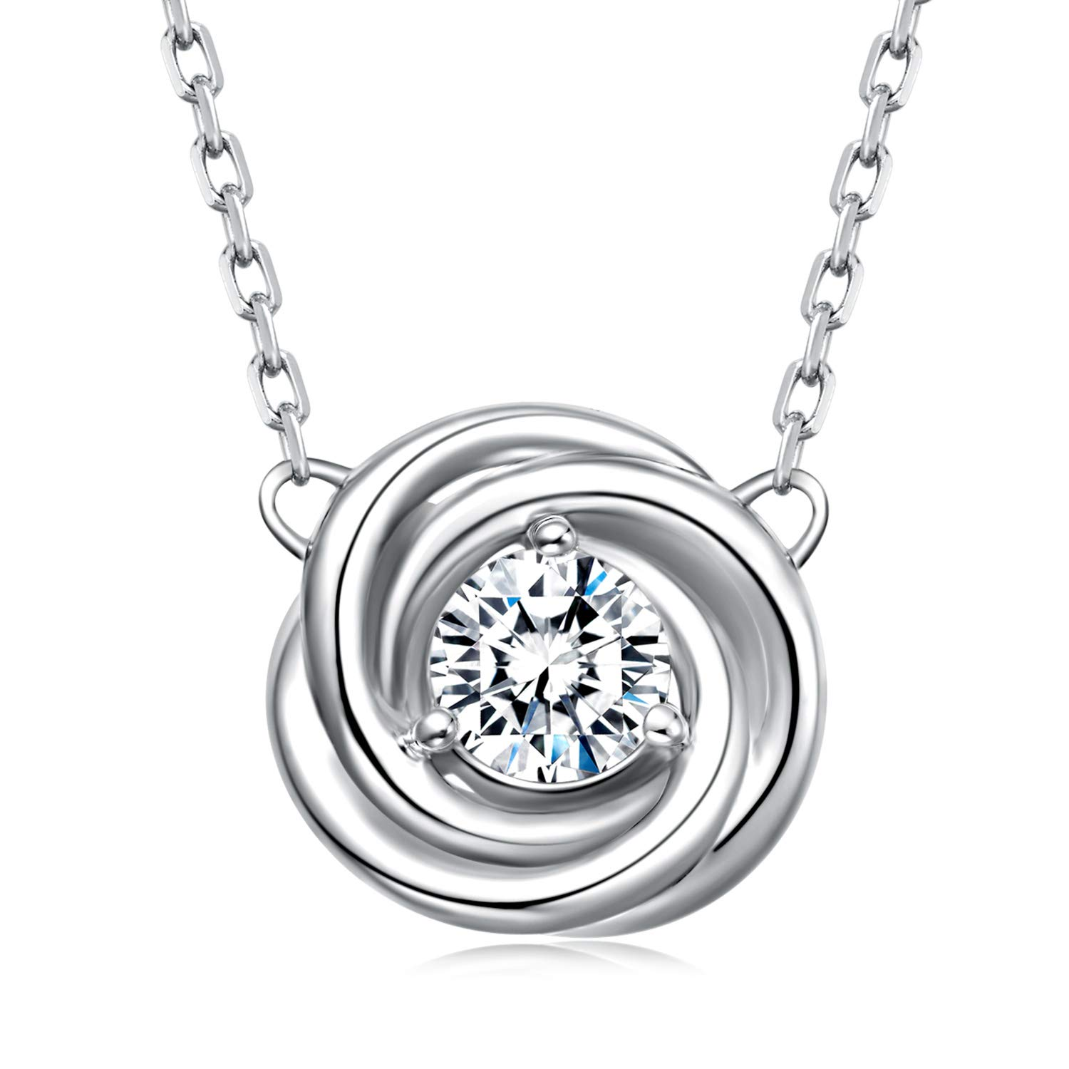 BlingGem Algerian Love Knot Pendant Necklace in 925 Sterling Silver Plated White Gold CZ Pendant Necklace for Women Ideal Gift 18""
