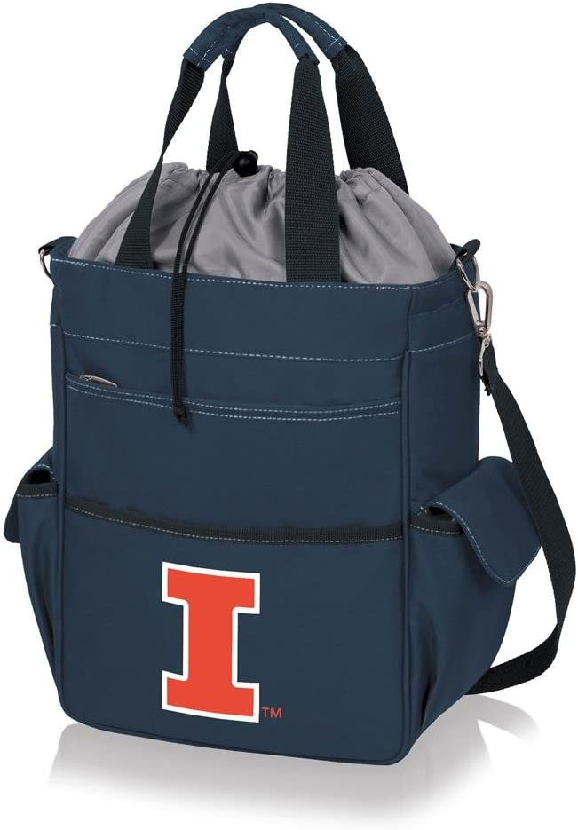 a Picnic Time brand Illinois Fighting Illini ONIVA Navy Blue with Gray Accents Activo Cooler Tote Bag,