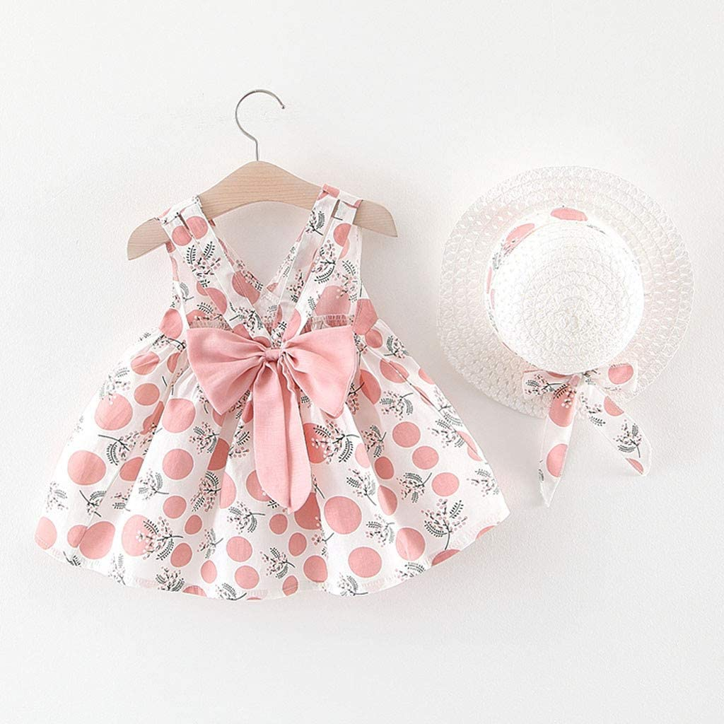 Weant Newborn Baby Infant Toddler Lovely Polka Dot Bowknot Princess Tutu Skirt Girls Dress Clothes Set for 0-3 Years Hat Beach Sundress Summer Outfits for Kids Gifts